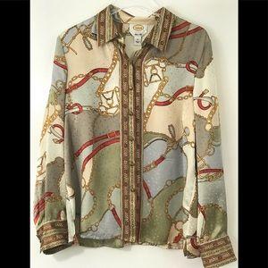 Talbots Silk Blouse Equestrian Long Sleeve  14